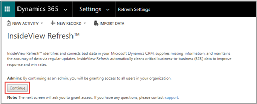 Setting Up InsideView Refresh in Microsoft Dynamics 365 or