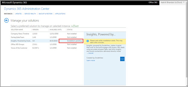 Installing Insights, powered by InsideView in Microsoft